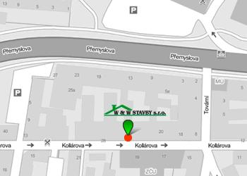 mapa W&W STAVBY s.r.o.